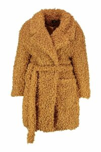 Womens Plus Teddy Faux Fur Belted Coat - beige - 20, Beige