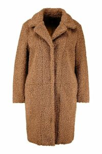 Womens Plus Teddy Faux Fur Longline Coat - beige - 18, Beige