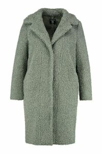 Womens Plus Teddy Faux Fur Longline Coat - green - 20, Green