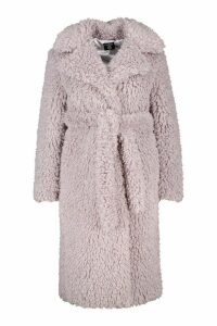 Womens Plus Teddy Faux Fur Belted Longline Coat - purple - 20, Purple