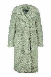 Womens Plus Teddy Faux Fur Belted Longline Coat - green - 20, Green