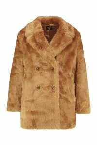 Womens Plus Luxe Double Breasted Faux Fur Coat - beige - 20, Beige