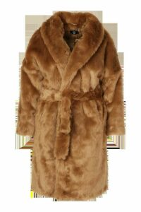 Womens Plus Luxe Shawl Collar Belted Faux Fur Coat - beige - 20, Beige
