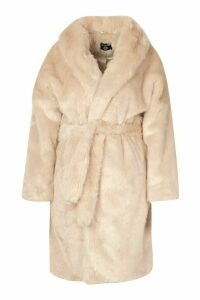 Womens Plus Luxe Shawl Collar Belted Faux Fur Coat - beige - 20, Beige