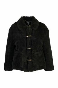 Womens Plus Faux Fur Toggle Detail Pea Coat - black - 20, Black