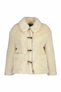 Womens Plus Faux Fur Toggle Detail Pea Coat - white - 20, White