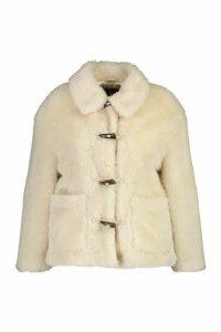Womens Plus Faux Fur Toggle Detail Pea Coat - white - 20, White