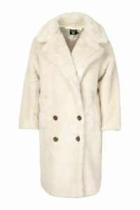 Womens Plus Teddy Faux Fur Button Detail Coat - white - 20, White