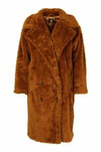 Womens Plus Teddy Faux Fur Button Detail Coat - brown - 20, Brown