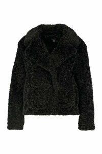 Womens Plus Teddy Faux Fur Short Length Coat - black - 20, Black