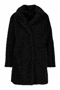 Womens Plus Faux Fur Teddy Pocket Coat - black - 24, Black