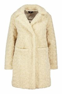 Womens Plus Faux Fur Teddy Pocket Coat - white - 20, White