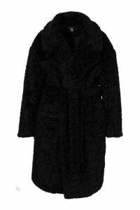 Womens Plus Teddy Faux Fur Belted Mid Length Coat - black - 20, Black