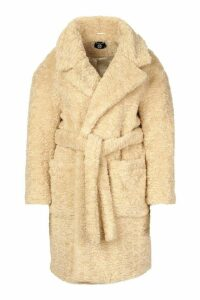 Womens Plus Teddy Faux Fur Belted Mid Length Coat - white - 20, White