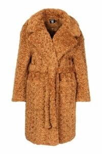 Womens Plus Teddy Faux Fur Belted Mid Length Coat - beige - 20, Beige