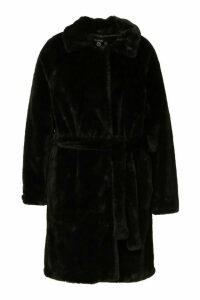 Womens Plus Supersoft Belted Faux Fur Longline Coat - black - 20, Black
