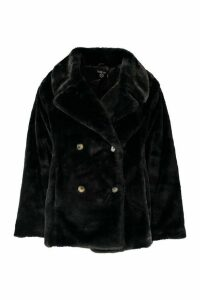 Womens Plus Supersoft Faux Fur Double Breasted Coat - black - 20, Black