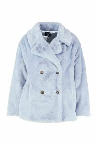 Womens Plus Supersoft Faux Fur Double Breasted Coat - blue - 20, Blue