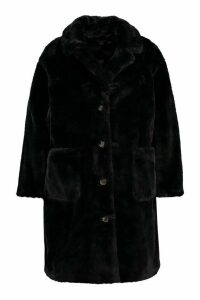 Womens Plus Supersoft Faux Fur Button Through Coat - black - 20, Black