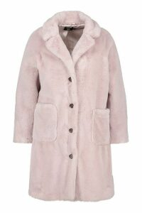 Womens Plus Supersoft Faux Fur Button Through Coat - purple - 18, Purple