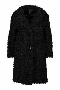 Womens Plus Teddy Faux Fur Longline Coat - black - 20, Black