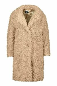 Womens Plus Teddy Faux Fur Longline Coat - Brown - 20, Brown