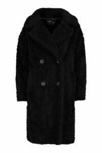 Womens Petite Longline Double Breasted Faux Teddy Coat - black - 14, Black