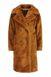 Womens Petite Longline Double Breasted Faux Teddy Coat - brown - 14, Brown