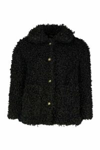 Womens Petite Faux Teddy Fur Pea Coat - black - 14, Black