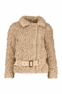 Womens Petite Faux Fur Teddy Aviator Jacket - Brown - 14, Brown