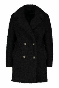 Womens Petite Double Breasted Faux Teddy Fur Coat - black - 14, Black
