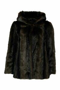Womens Petite Hooded Luxe Faux Fur Coat - brown - 12, Brown