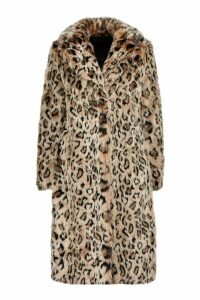 Womens Petite Longline Leopard Print Faux Fur Coat - brown - 14, Brown