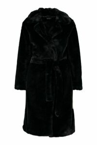 Womens Petite Faux Fur Longline Belted Coat - black - 14, Black