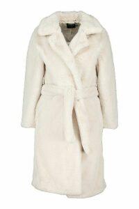 Womens Petite Faux Fur Longline Belted Coat - beige - 14, Beige