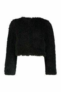 Womens Petite Crop Curly Faux Fur Coat - black - 14, Black