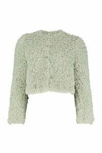 Womens Petite Crop Curly Faux Fur Coat - green - 14, Green