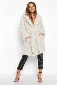 Womens Petite Teddy Faux Fur Belted Coat - white - 14, White