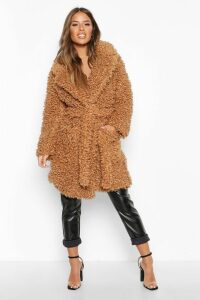 Womens Petite Teddy Faux Fur Belted Coat - beige - 14, Beige