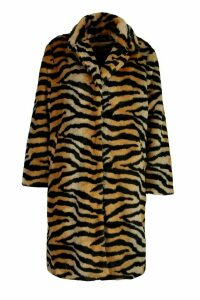 Womens Plus Tiger Print Faux Fur Coat - brown - 20, Brown