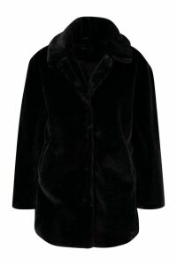 Womens Plus Faux Fur Coat - black - 20, Black