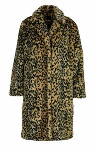 Womens Plus Leopard Print Faux Fur Coat - brown - 20, Brown