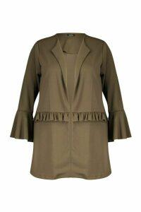 Womens Plus Ruffle Detail Collarless Jacket - green - 18, Green