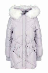 Womens Petite Faux Fur Hood Drawstring Padded Coat - grey - 14, Grey