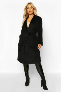 Womens Plus Brushed Wool Look Belted Duster Coat - black - 20, Black