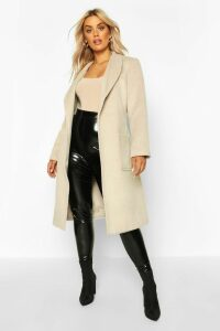 Womens Plus Brushed Wool Look Belted Duster Coat - white - 22, White