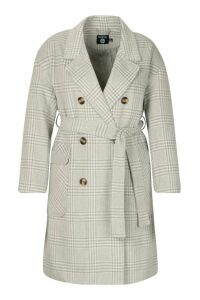 Womens Plus Tonal Check Belted Button Trench Coat - grey - 20, Grey