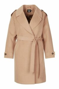 Womens Plus Wool Look Button Detail Belted Coat - beige - 16, Beige