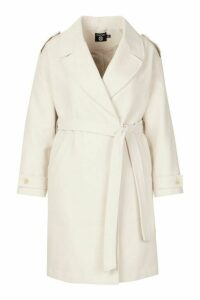 Womens Plus Wool Look Button Detail Belted Coat - white - 20, White