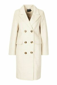 Womens Petite Soft Herringbone Wool Look Coat - beige - 14, Beige